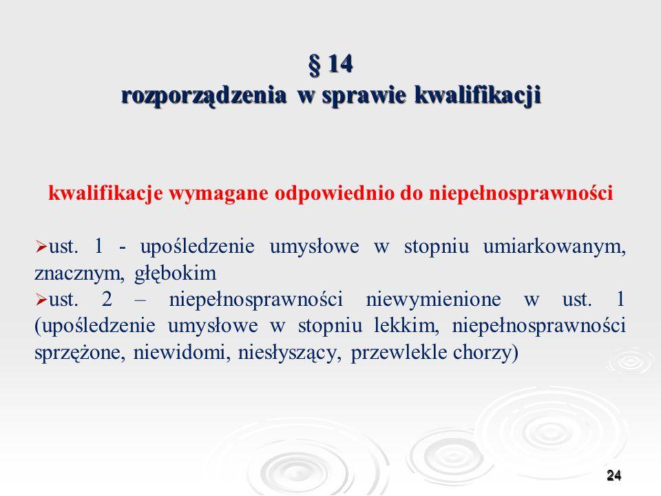 § 14 rozporządzenia w sprawie kwalifikacji kwalifikacje wymagane odpowiednio do niepełnosprawności ust. 1 - upośledzenie umysłowe w stopniu umiarkowan