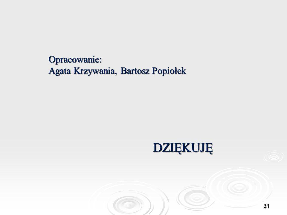 Opracowanie: Agata Krzywania, Bartosz Popiołek DZIĘKUJĘ 31