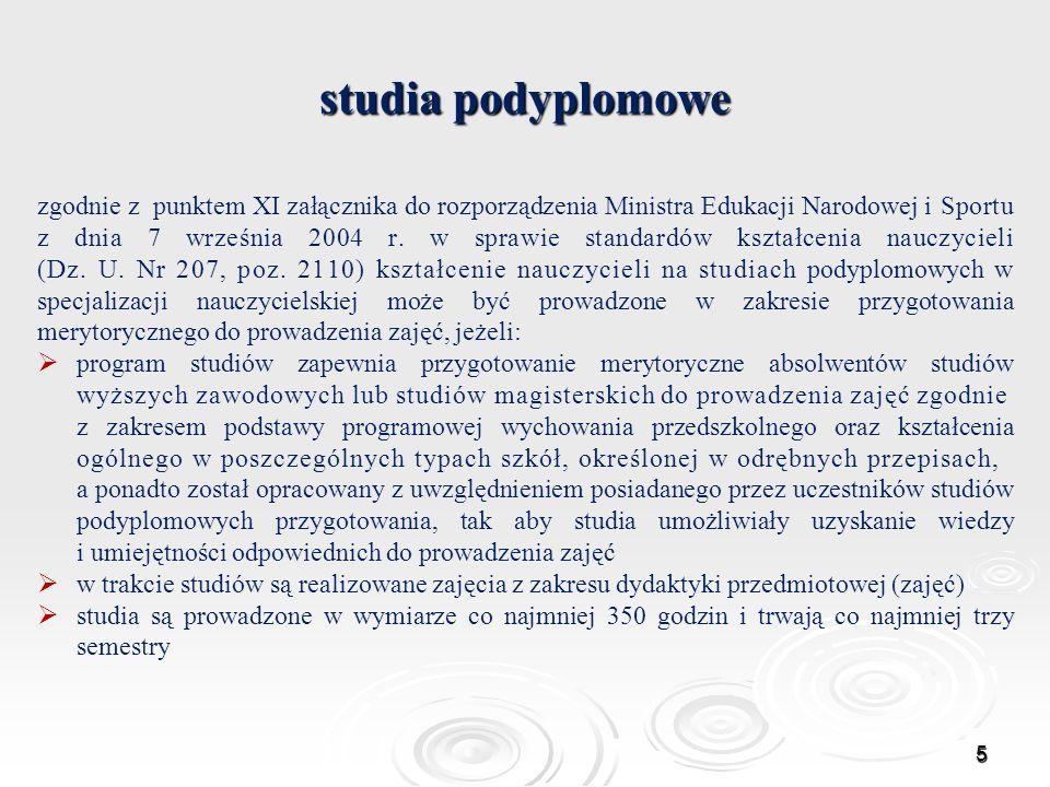 studia podyplomowe zgodnie z punktem XI załącznika do rozporządzenia Ministra Edukacji Narodowej i Sportu z dnia 7 września 2004 r. w sprawie standard