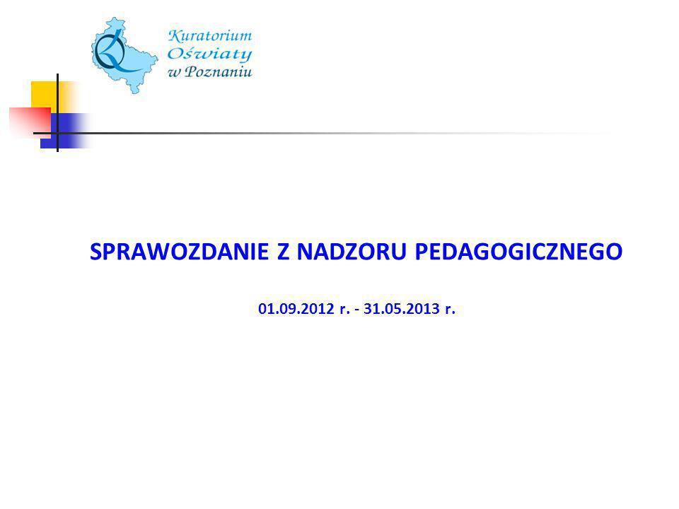 Ewaluacje Wielkopolska W województwie wielkopolskim w roku szkolnym 2012/13 do końca maja we wszystkich typach szkół i placówek przeprowadzono 350 ewaluacji, w tym: 107 całościowych, 132 w obszarze efekty i zarządzanie, 93 w obszarze procesy i środowisko, 18 w obszarze zarządzanie.