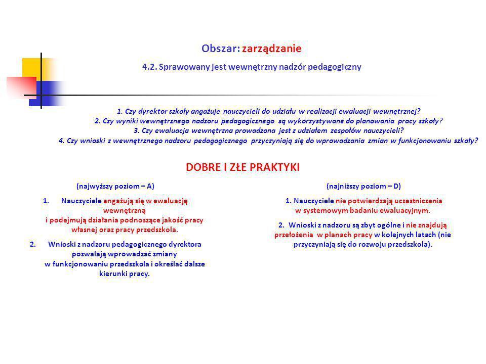 Obszar: zarządzanie 4.2. Sprawowany jest wewnętrzny nadzór pedagogiczny (najwyższy poziom – A) 1.Nauczyciele angażują się w ewaluację wewnętrzną i pod