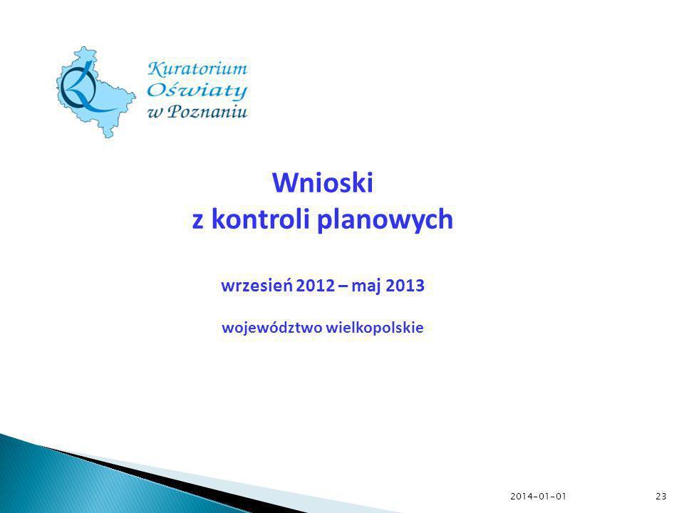 2014-01-01 Wnioski z kontroli planowych wrzesień 2012 – maj 2013 województwo wielkopolskie 23