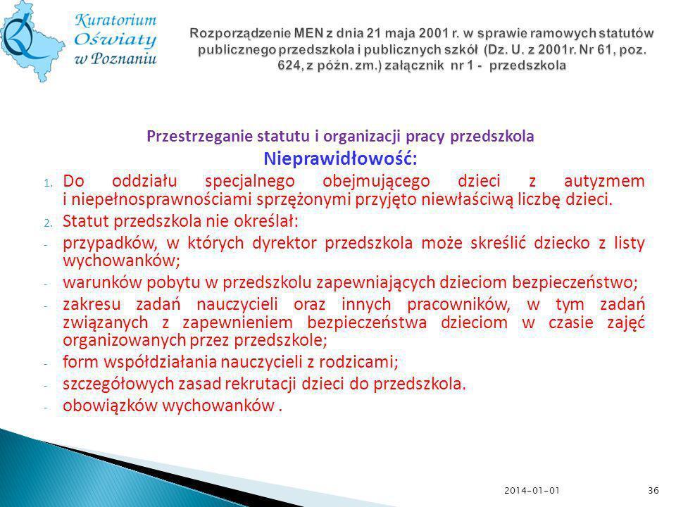 36 Rozporządzenie MEN z dnia 21 maja 2001 r. w sprawie ramowych statutów publicznego przedszkola i publicznych szkół (Dz. U. z 2001r. Nr 61, poz. 624,