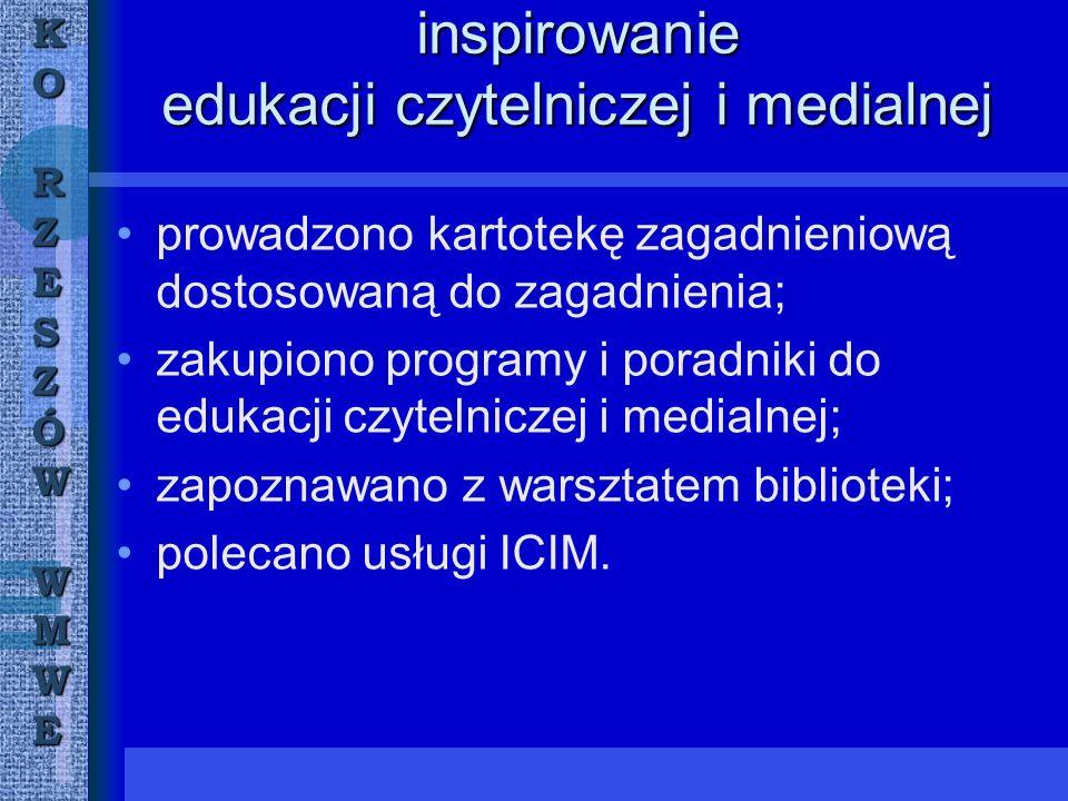 KORZESZÓWWMWE inspirowanie edukacji czytelniczej i medialnej prowadzono kartotekę zagadnieniową dostosowaną do zagadnienia; zakupiono programy i poradniki do edukacji czytelniczej i medialnej; zapoznawano z warsztatem biblioteki; polecano usługi ICIM.