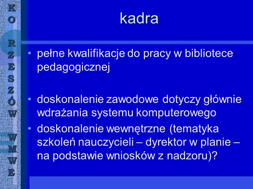 KORZESZÓWWMWE konferencje, warsztaty konferencja Regionalistyka jako integralna część wychowania patriotycznego - Tarnobrzeg; projekt Sytuacja literatury polskiej po 1989 roku - Przeworsk; warsztaty Elektroniczne czasopisma pedagogiczne jako element warsztatu bibliograficznego nauczyciela - Leżajsk; konferencja Rola czasopism pedagogicznych w pracy nauczyciela (Sanok); konferencja Ilustracja w książkach dla dzieci jako czynnik odbioru literatury i rozwijanie zainteresowań czytelniczych (Sanok);