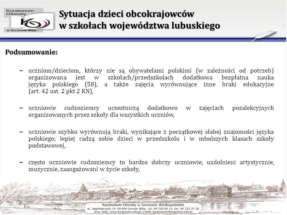 Sytuacja dzieci obcokrajowców w szkołach województwa lubuskiego Podsumowanie: – uczniom/dzieciom, którzy nie są obywatelami polskimi (w zależności od