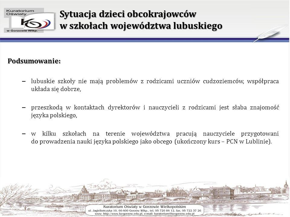 Sytuacja dzieci obcokrajowców w szkołach województwa lubuskiego Podsumowanie: – lubuskie szkoły nie mają problemów z rodzicami uczniów cudzoziemców, w