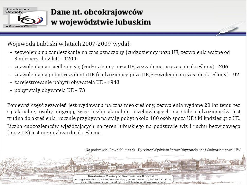 Dane nt. obcokrajowców w województwie lubuskim Wojewoda Lubuski w latach 2007-2009 wydał: –zezwolenia na zamieszkanie na czas oznaczony (cudzoziemcy p