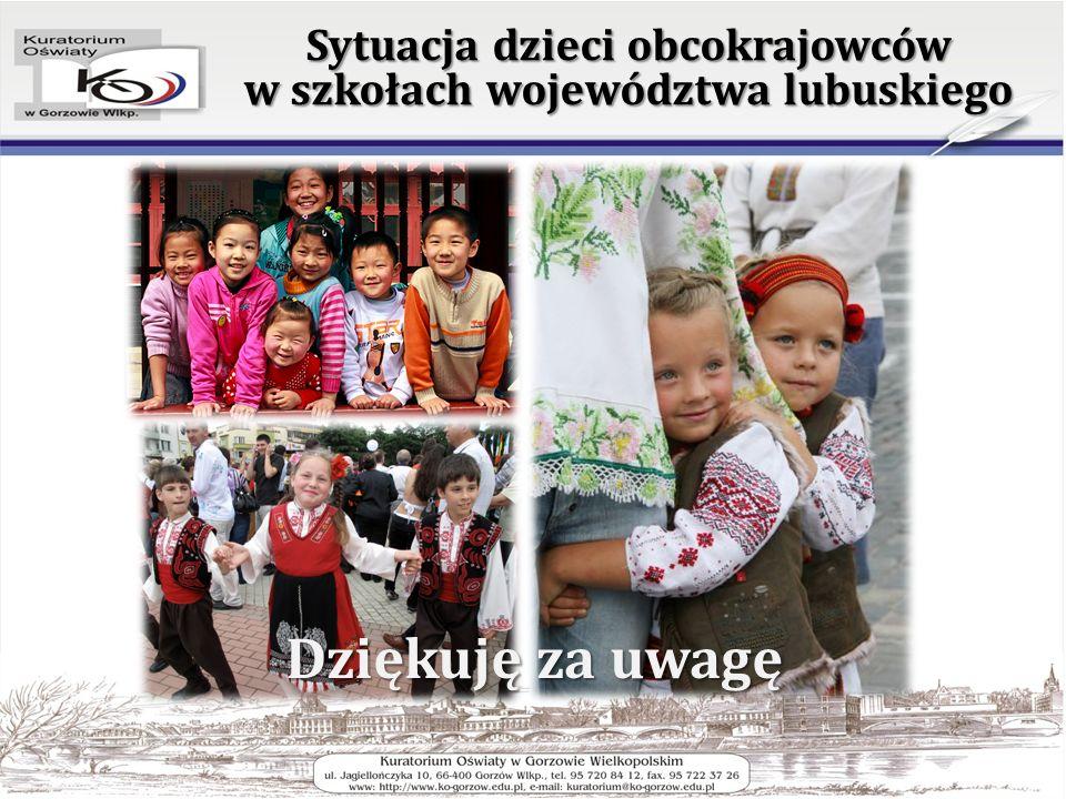 Dziękuję za uwagę Sytuacja dzieci obcokrajowców w szkołach województwa lubuskiego
