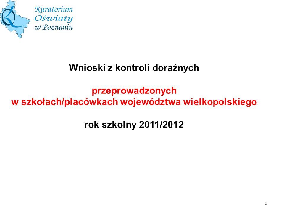 Liczba kontroli doraźnych przeprowadzonych w szkołach i placówkach województwa wielkopolskiego w roku szkolnym 2011/12 łWydział/ Delegatura PoznańKaliszKoninLesznoPiłaŁącznie Liczba skontrolowanych szkół/placówek 195112648176528 Liczba szkół/placówek, w których wydano zalecenia 12857386717307 65,6%50,9%59,3%82,7%22,4%58,1% 2