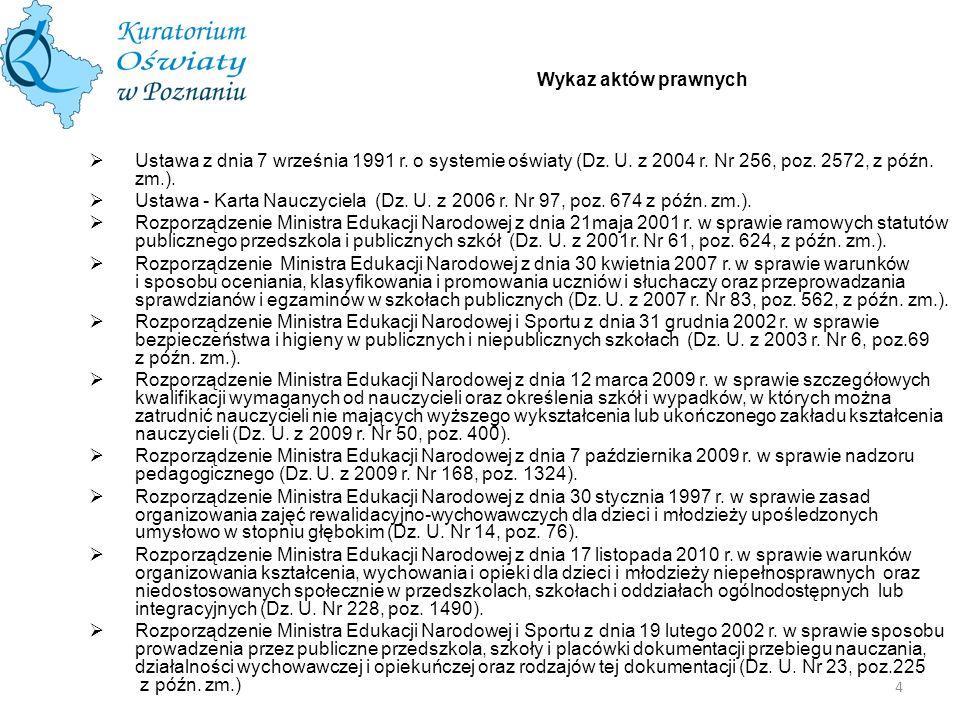 4 Wykaz aktów prawnych Ustawa z dnia 7 września 1991 r. o systemie oświaty (Dz. U. z 2004 r. Nr 256, poz. 2572, z późn. zm.). Ustawa - Karta Nauczycie