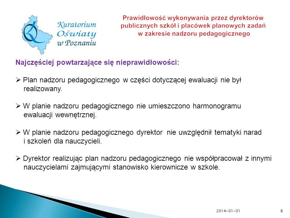 2014-01-019 Prawidłowość nadzorowania przez dyrektora publicznej szkoły podstawowej spełniania przez dzieci pięcioletnie i sześcioletnie rocznego obowiązkowego przygotowania przedszkolnego