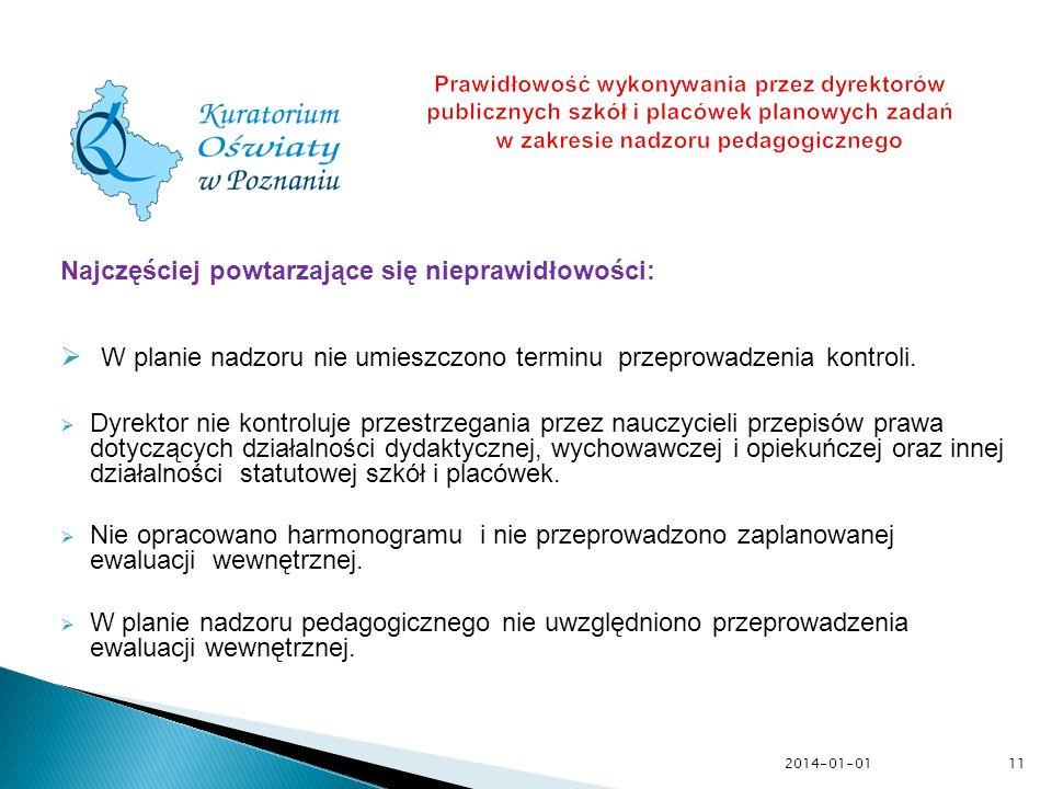 2014-01-01 Prawidłowość wykonywania przez dyrektorów publicznych szkół i placówek planowych zadań w zakresie nadzoru pedagogicznego Najczęściej powtar