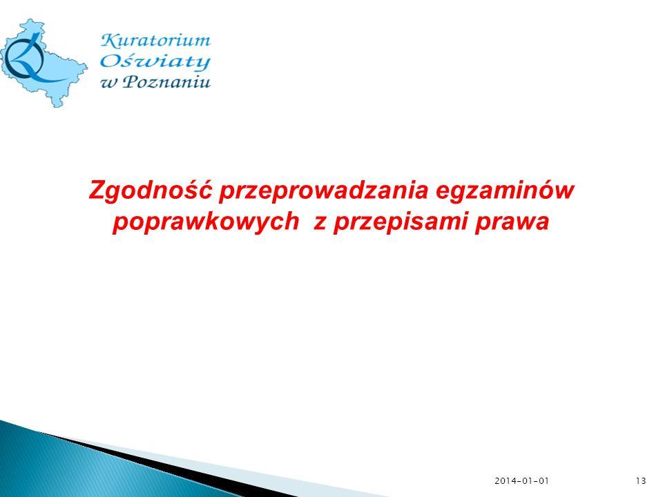 2014-01-0113 Zgodność przeprowadzania egzaminów poprawkowych z przepisami prawa