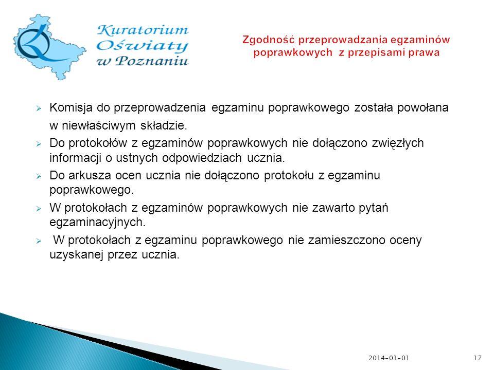 Komisja do przeprowadzenia egzaminu poprawkowego została powołana w niewłaściwym składzie. Do protokołów z egzaminów poprawkowych nie dołączono zwięzł