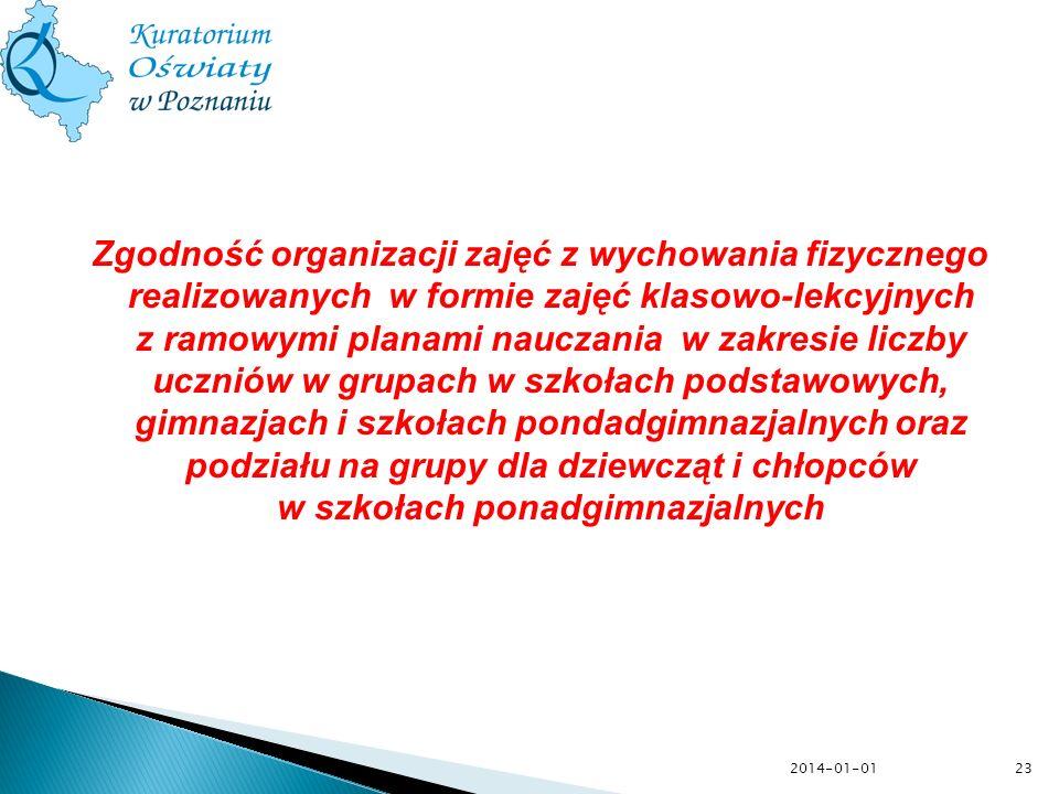 2014-01-01 Zgodność organizacji zajęć z wychowania fizycznego realizowanych w formie zajęć klasowo-lekcyjnych z ramowymi planami nauczania w zakresie