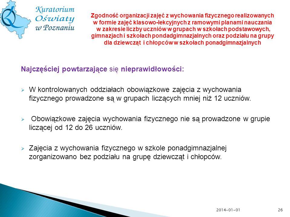2014-01-01 Najczęściej powtarzające się nieprawidłowości: W kontrolowanych oddziałach obowiązkowe zajęcia z wychowania fizycznego prowadzone są w grup