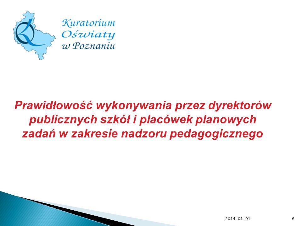 Prawidłowość wykonywania przez dyrektorów publicznych szkół i placówek planowych zadań w zakresie nadzoru pedagogicznego 6