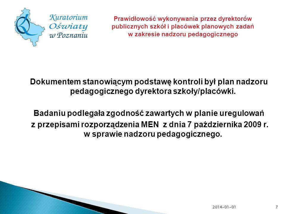 2014-01-01 Dokumentem stanowiącym podstawę kontroli był plan nadzoru pedagogicznego dyrektora szkoły/placówki. Badaniu podlegała zgodność zawartych w