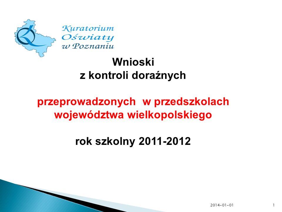 2014-01-01 Wnioski z kontroli doraźnych przeprowadzonych w przedszkolach województwa wielkopolskiego rok szkolny 2011-2012 1