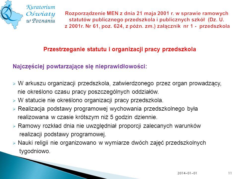 11 Rozporządzenie MEN z dnia 21 maja 2001 r. w sprawie ramowych statutów publicznego przedszkola i publicznych szkół (Dz. U. z 2001r. Nr 61, poz. 624,