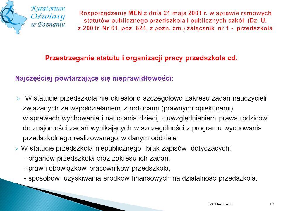 12 Rozporządzenie MEN z dnia 21 maja 2001 r. w sprawie ramowych statutów publicznego przedszkola i publicznych szkół (Dz. U. z 2001r. Nr 61, poz. 624,