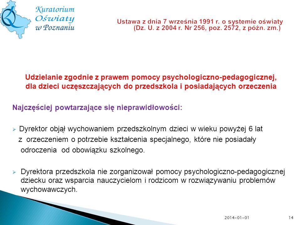 Udzielanie zgodnie z prawem pomocy psychologiczno-pedagogicznej, dla dzieci uczęszczających do przedszkola i posiadających orzeczenia Najczęściej powt