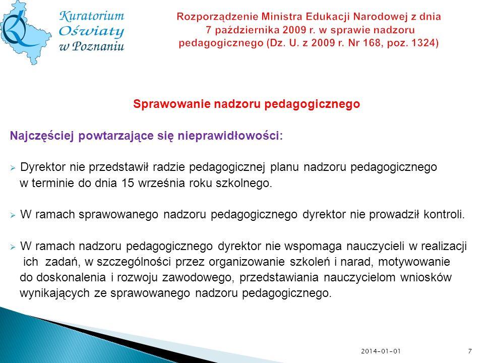 Sprawowanie nadzoru pedagogicznego Najczęściej powtarzające się nieprawidłowości: Dyrektor nie przedstawił radzie pedagogicznej planu nadzoru pedagogi