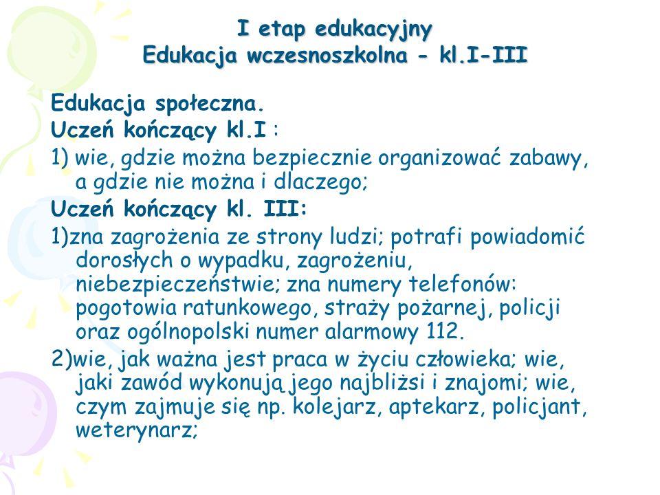 I etap edukacyjny Edukacja wczesnoszkolna - kl.I-III Edukacja społeczna. Uczeń kończący kl.I : 1) wie, gdzie można bezpiecznie organizować zabawy, a g