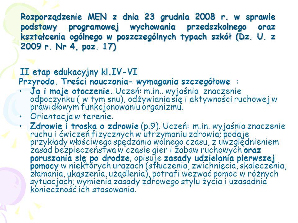 Rozporządzenie MEN z dnia 23 grudnia 2008 r. w sprawie podstawy programowej wychowania przedszkolnego oraz kształcenia ogólnego w poszczególnych typac