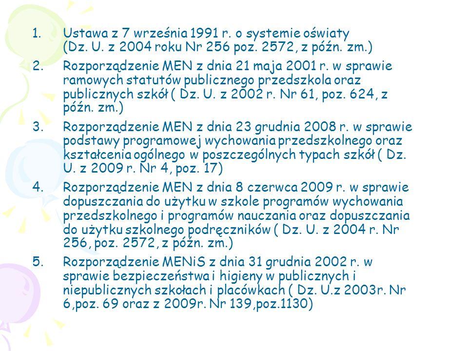 1.Ustawa z 7 września 1991 r. o systemie oświaty (Dz. U. z 2004 roku Nr 256 poz. 2572, z późn. zm.) 2.Rozporządzenie MEN z dnia 21 maja 2001 r. w spra