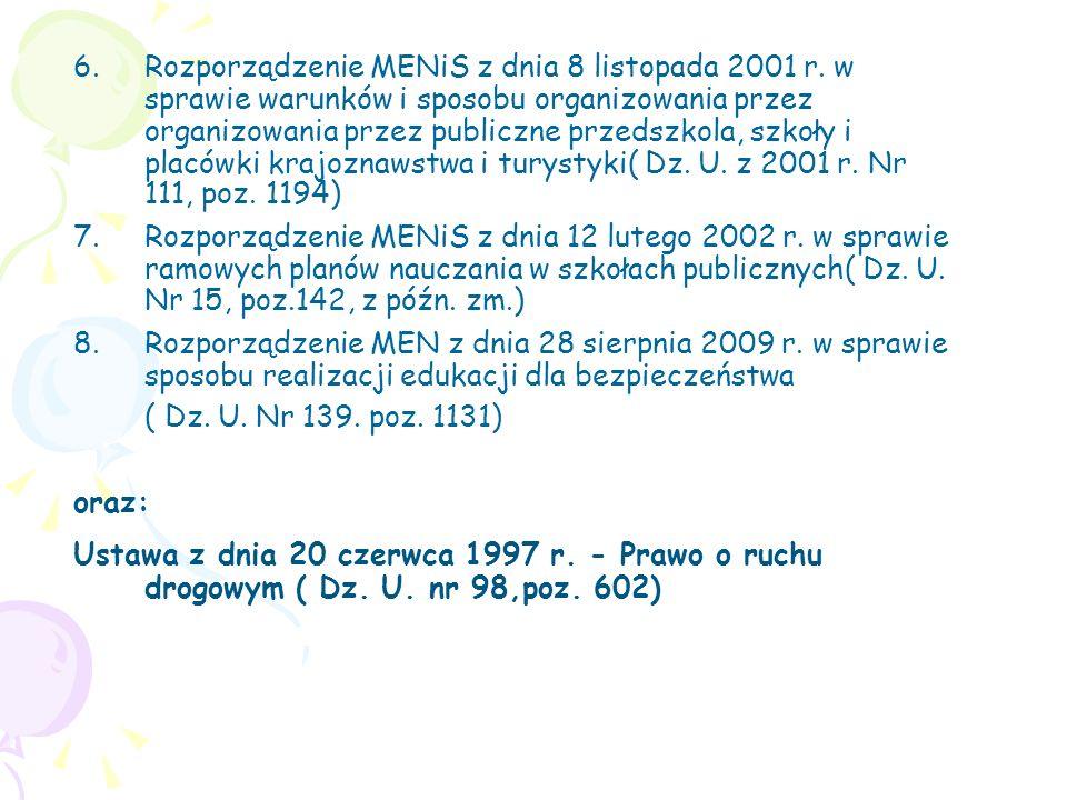 6.Rozporządzenie MENiS z dnia 8 listopada 2001 r. w sprawie warunków i sposobu organizowania przez organizowania przez publiczne przedszkola, szkoły i