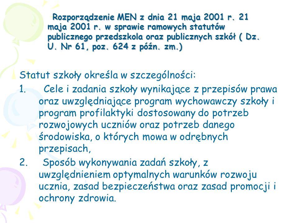 Rozporządzenie MEN z dnia 21 maja 2001 r. 21 maja 2001 r. w sprawie ramowych statutów publicznego przedszkola oraz publicznych szkół ( Dz. U. Nr 61, p