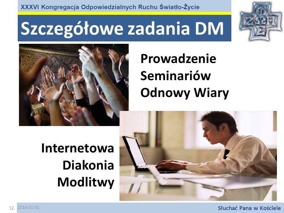 Szczegółowe zadania DM XXXVI Kongregacja Odpowiedzialnych Ruchu Światło-Życie Słuchać Pana w Kościele Internetowa Diakonia Modlitwy Prowadzenie Semina