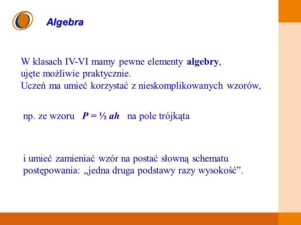 EDUKACJA SKUTECZNA, PRZYJAZNA I NOWOCZESNA Algebra W klasach IV-VI mamy pewne elementy algebry, ujęte możliwie praktycznie. Uczeń ma umieć korzystać z