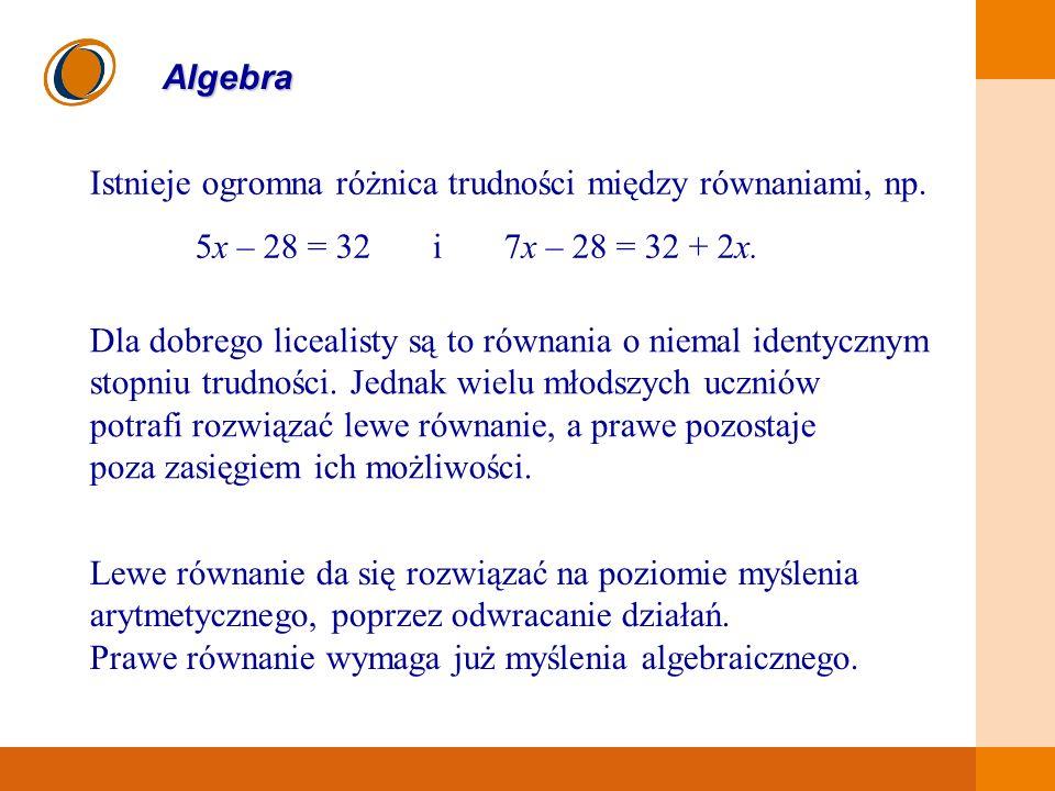 EDUKACJA SKUTECZNA, PRZYJAZNA I NOWOCZESNA Algebra Istnieje ogromna różnica trudności między równaniami, np. 5x – 28 = 32 i 7x – 28 = 32 + 2x. Dla dob