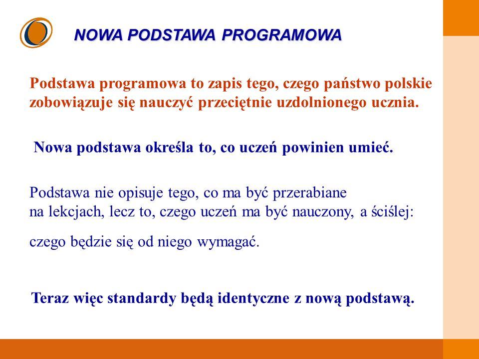 EDUKACJA SKUTECZNA, PRZYJAZNA I NOWOCZESNA Podstawa programowa to zapis tego, czego państwo polskie zobowiązuje się nauczyć przeciętnie uzdolnionego u
