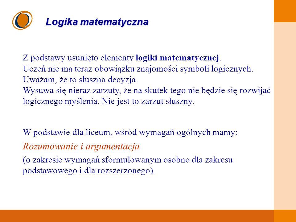 EDUKACJA SKUTECZNA, PRZYJAZNA I NOWOCZESNA Logika matematyczna Z podstawy usunięto elementy logiki matematycznej. Uczeń nie ma teraz obowiązku znajomo