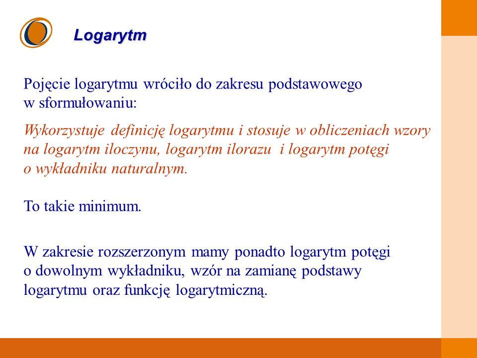 EDUKACJA SKUTECZNA, PRZYJAZNA I NOWOCZESNA Logarytm Pojęcie logarytmu wróciło do zakresu podstawowego w sformułowaniu: Wykorzystuje definicję logarytm