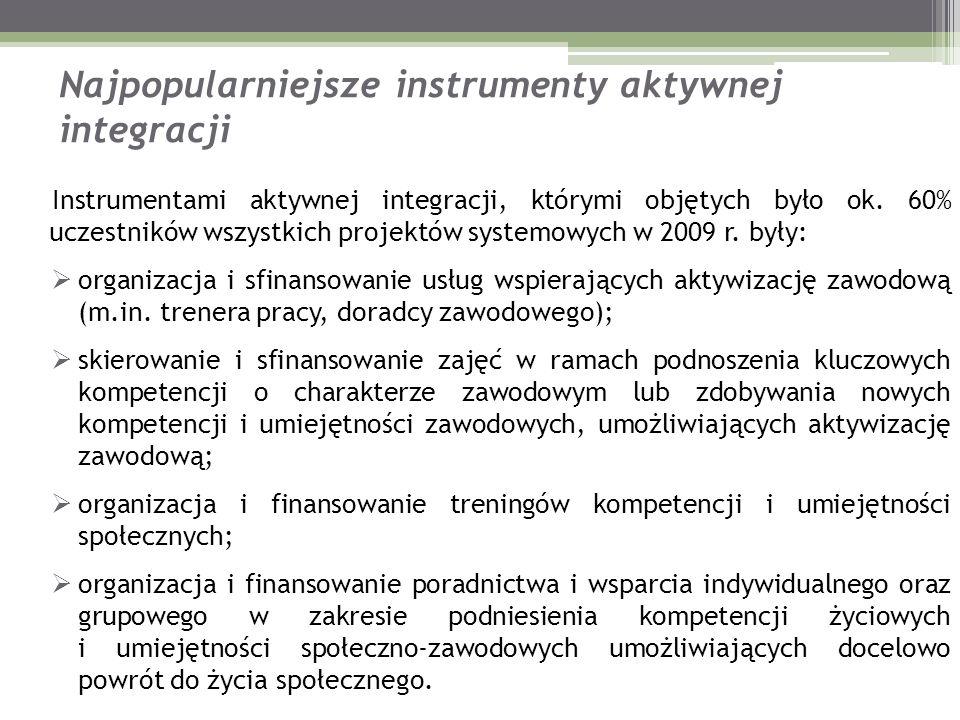 Najpopularniejsze instrumenty aktywnej integracji Instrumentami aktywnej integracji, którymi objętych było ok. 60% uczestników wszystkich projektów sy
