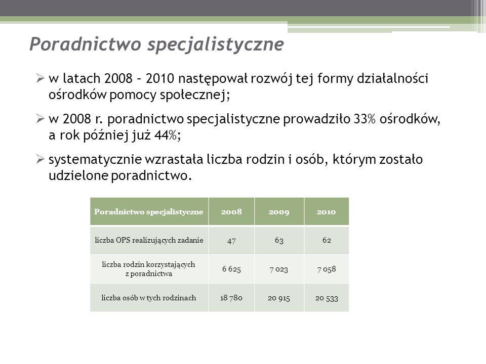 Poradnictwo specjalistyczne w latach 2008 – 2010 następował rozwój tej formy działalności ośrodków pomocy społecznej; w 2008 r. poradnictwo specjalist
