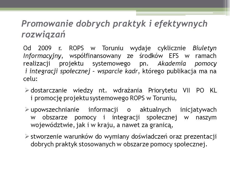 Promowanie dobrych praktyk i efektywnych rozwiązań Od 2009 r. ROPS w Toruniu wydaje cyklicznie Biuletyn Informacyjny, współfinansowany ze środków EFS