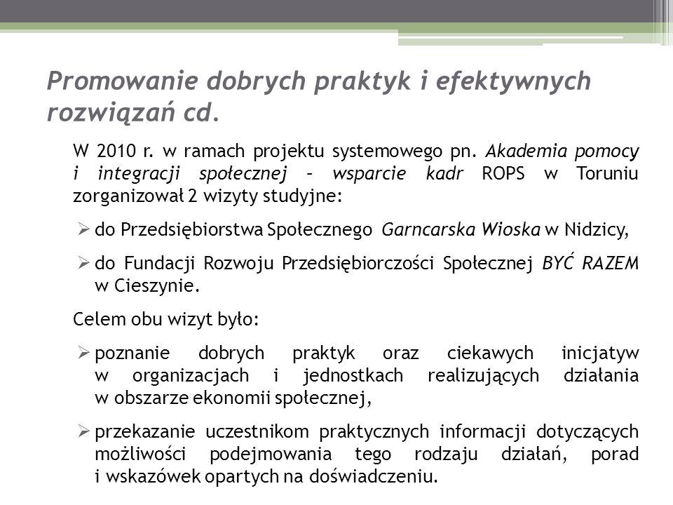 Promowanie dobrych praktyk i efektywnych rozwiązań cd. W 2010 r. w ramach projektu systemowego pn. Akademia pomocy i integracji społecznej – wsparcie