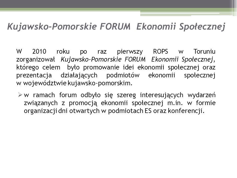 Kujawsko-Pomorskie FORUM Ekonomii Społecznej W 2010 roku po raz pierwszy ROPS w Toruniu zorganizował Kujawsko-Pomorskie FORUM Ekonomii Społecznej, któ