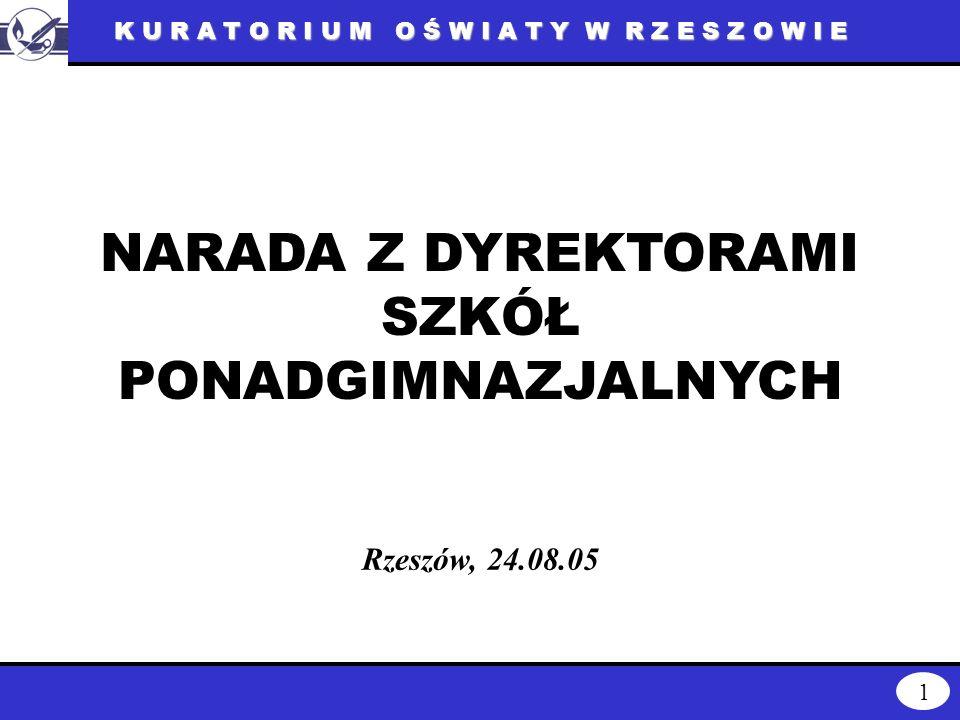 K U R A T O R I U M O Ś W I A T Y W R Z E S Z O W I E 1 NARADA Z DYREKTORAMI SZKÓŁ PONADGIMNAZJALNYCH Rzeszów, 24.08.05