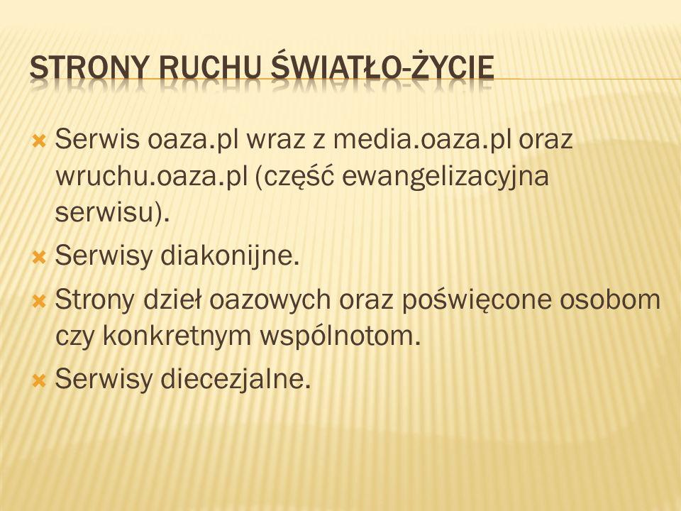 Serwis oaza.pl wraz z media.oaza.pl oraz wruchu.oaza.pl (część ewangelizacyjna serwisu). Serwisy diakonijne. Strony dzieł oazowych oraz poświęcone oso