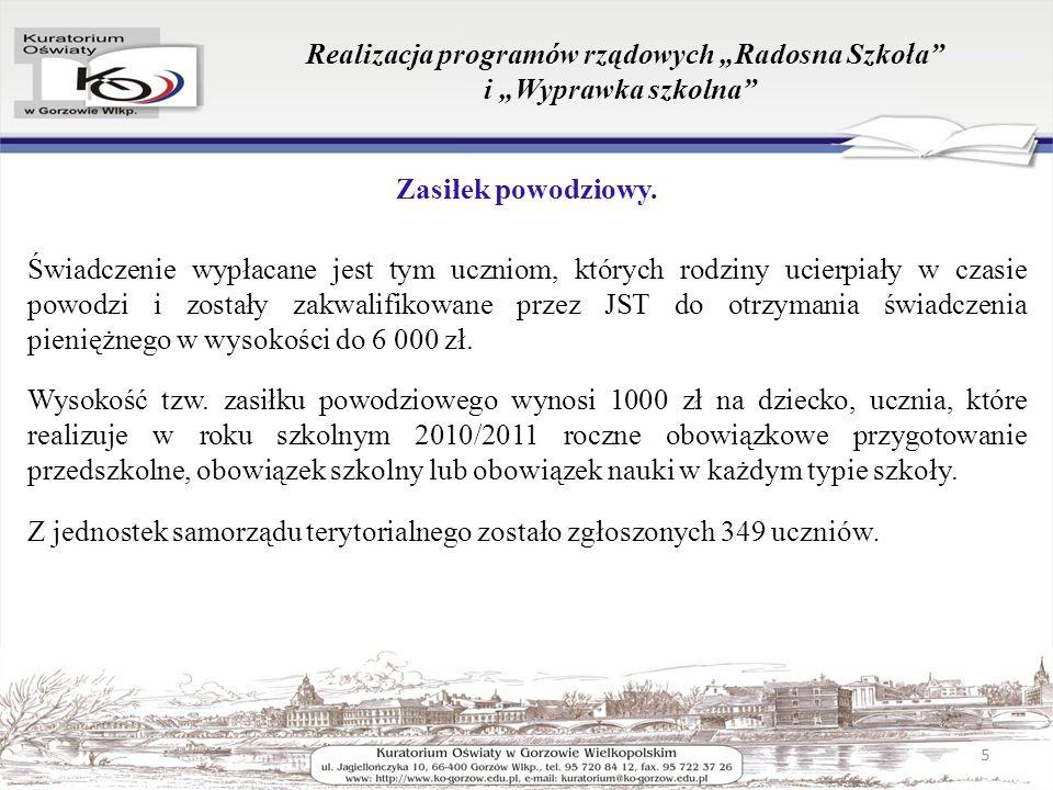 Realizacja programów rządowych Radosna Szkoła i Wyprawka szkolna Zasiłek powodziowy.
