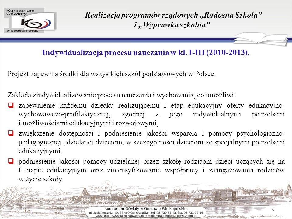 Realizacja programów rządowych Radosna Szkoła i Wyprawka szkolna Indywidualizacja procesu nauczania w kl.