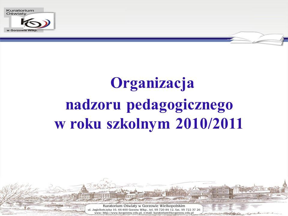 Organizacja nadzoru pedagogicznego w roku szkolnym 2010/2011