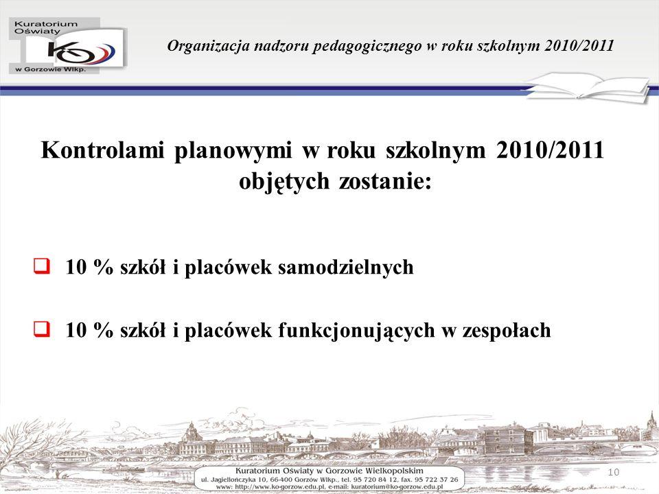 Organizacja nadzoru pedagogicznego w roku szkolnym 2010/2011 Kontrolami planowymi w roku szkolnym 2010/2011 objętych zostanie: 10 % szkół i placówek s